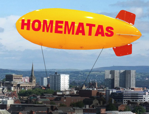 the homematas blimp above Preston