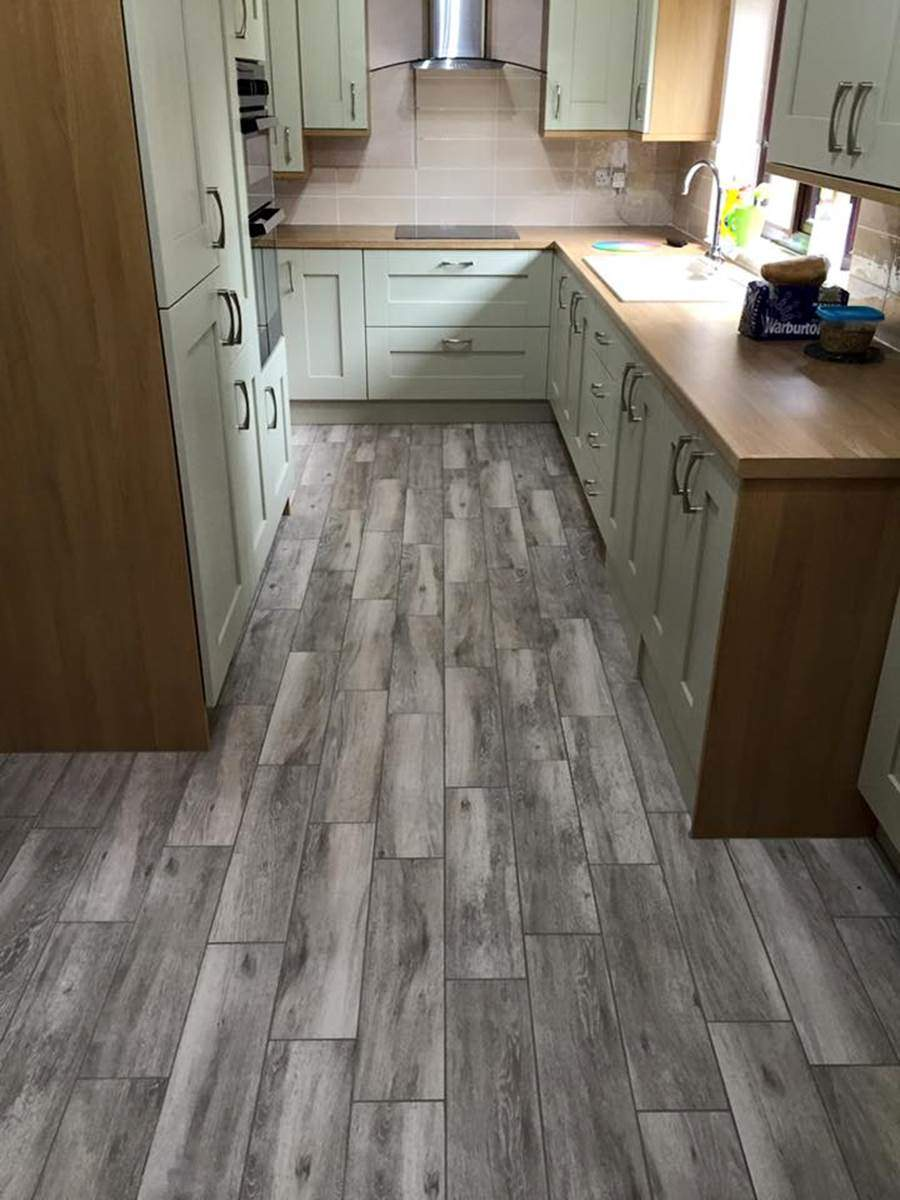 A newly laid kitchen floor